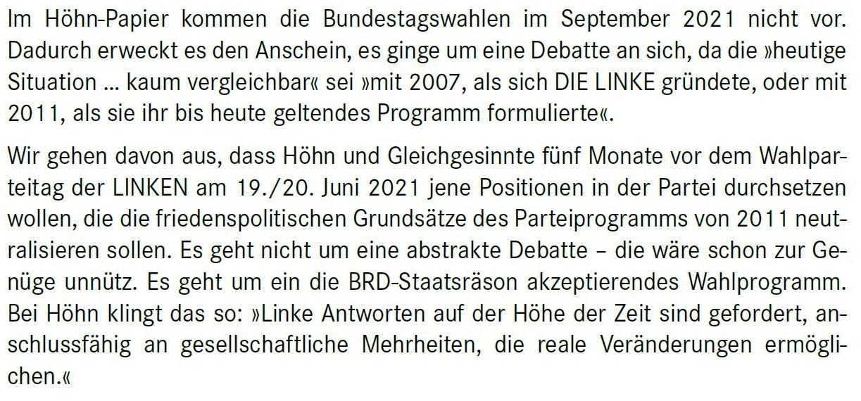 Aus dem Posteingang von Dr. Marianne Linke -  Stellungnahme der Kommunistische Plattform der Linkspartei zu dem Papier von Matthias Höhn - PDF - Abschnitt 2