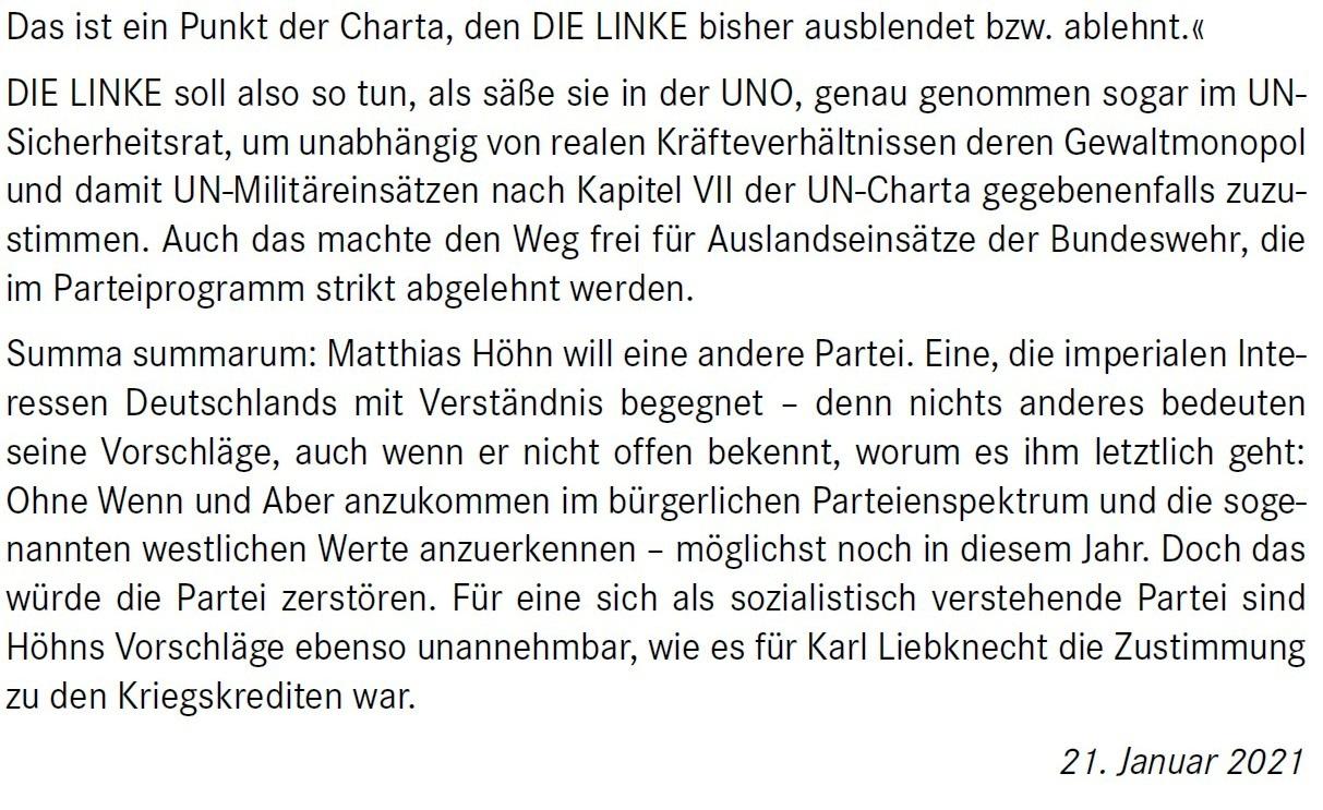 Aus dem Posteingang von Dr. Marianne Linke -  Stellungnahme der Kommunistische Plattform der Linkspartei zu dem Papier von Matthias Höhn - PDF - Abschnitt 10