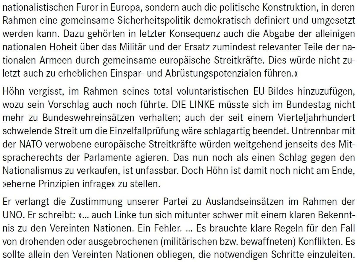 Aus dem Posteingang von Dr. Marianne Linke -  Stellungnahme der Kommunistische Plattform der Linkspartei zu dem Papier von Matthias Höhn - PDF - Abschnitt 9