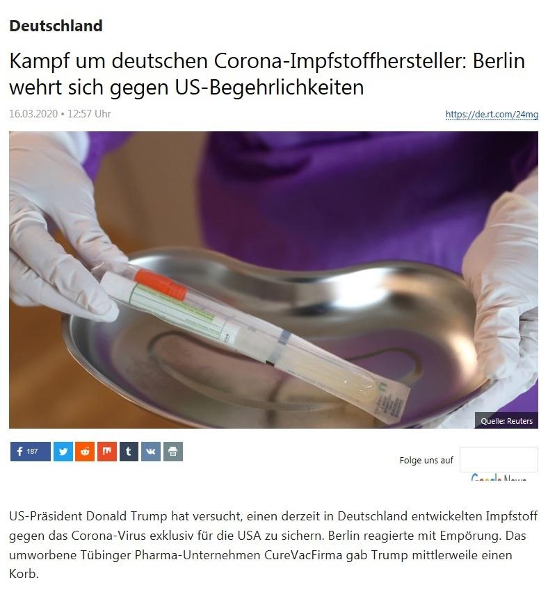 Deutschland - Kampf um deutschen Corona-Impfstoffhersteller: Berlin wehrt sich gegen US-Begehrlichkeiten - RT DEUTSCH - 12.03.2020