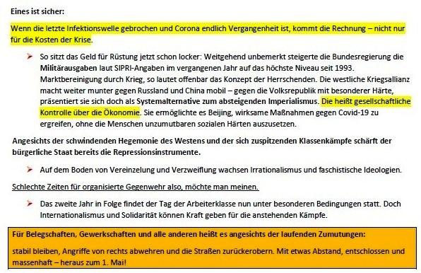 1. Mai - Kampftag der Arbeiterklasse - Stabil bleiben! - von Stefan Huth - Tageszeitung Junge Welt vom 30.04.2021 - Aus dem Posteingang von Siegfried Dienel vom 02.05.2021 - Abschnitt 2