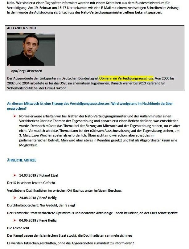 Der IS wird zum willkommenen Argument - Der Obmann der Linkspartei im Verteidigungsausschuss kritisiert die Aufstockung der Nato-Präsenz im Irak - Von Karin Leukefeld - ND 23.02.2021, 17:58 Uhr - Aus dem Posteingang von Siegfried Dienel vom 28.02.2021 - Abschnitt 2