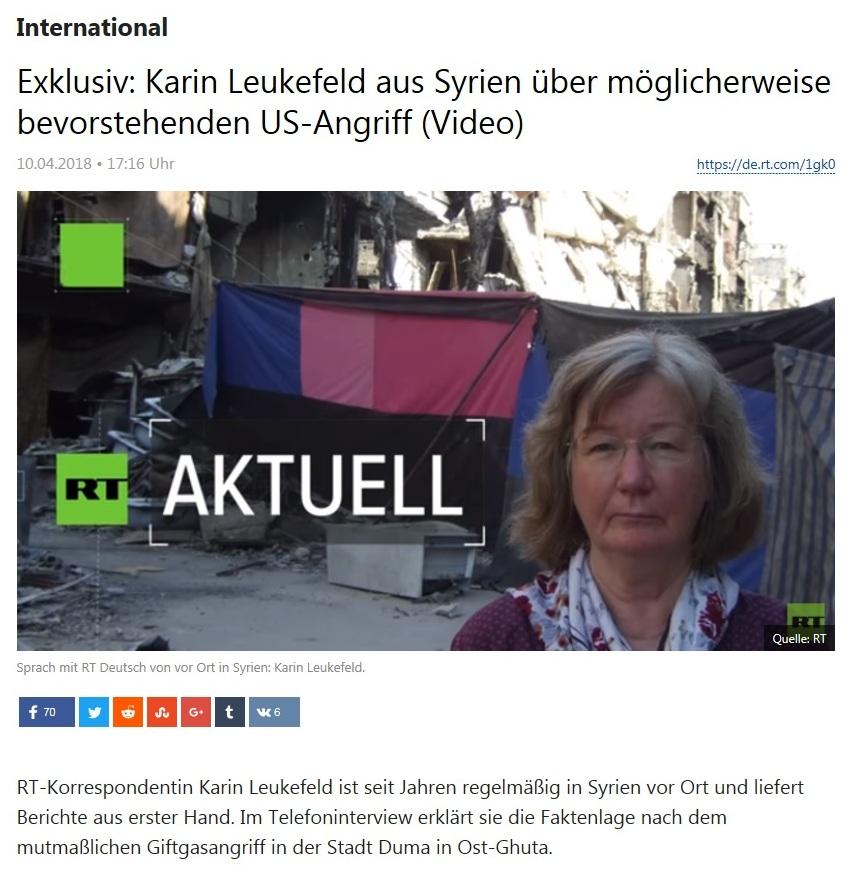 International - Exklusiv: Karin Leukefeld aus Syrien über möglicherweise bevorstehenden US-Angriff (Video)