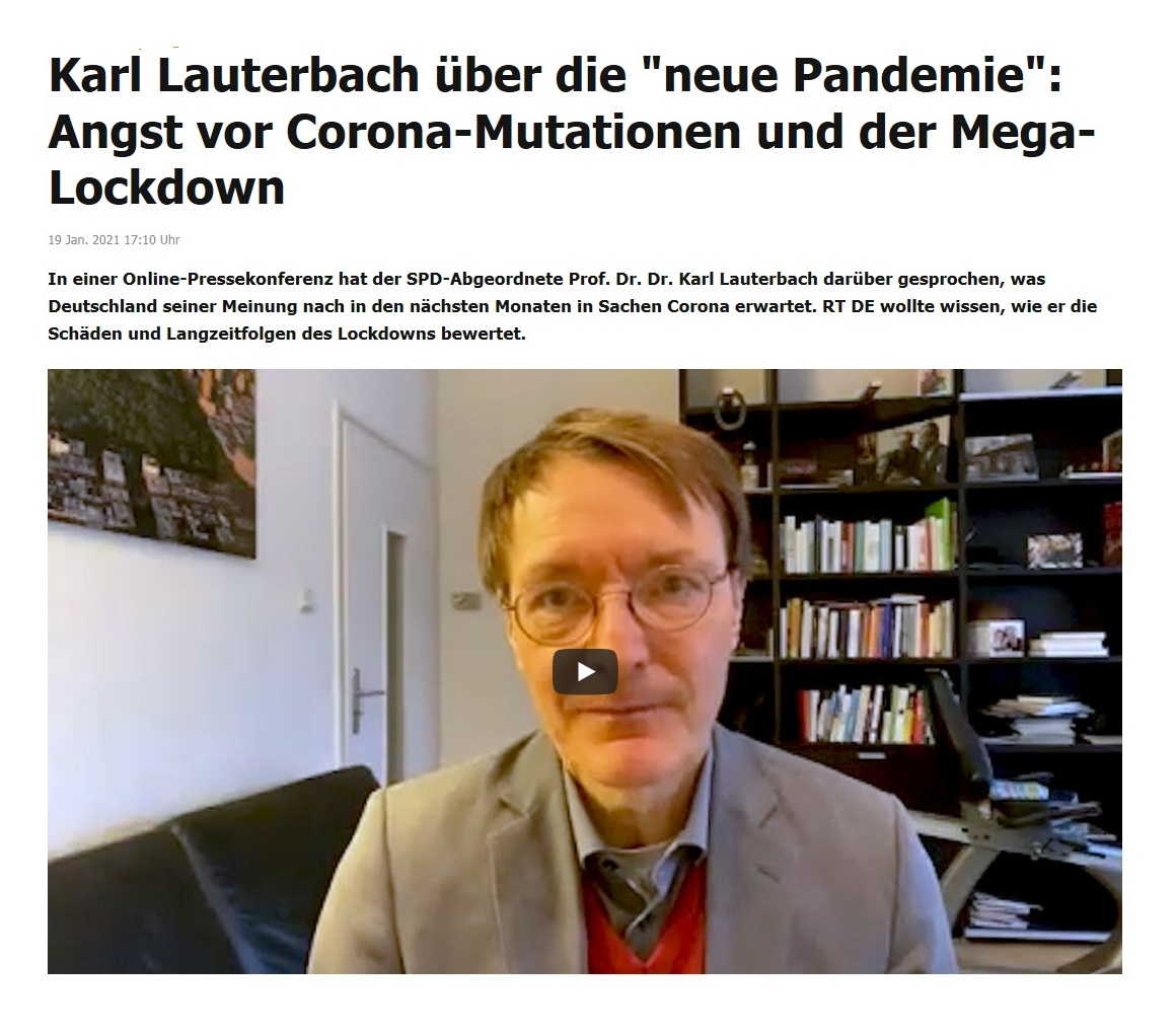 Karl Lauterbach über die 'neue Pandemie': Angst vor Corona-Mutationen und der Mega-Lockdown - RT DE - 19 Jan. 2021 17:10 Uhr