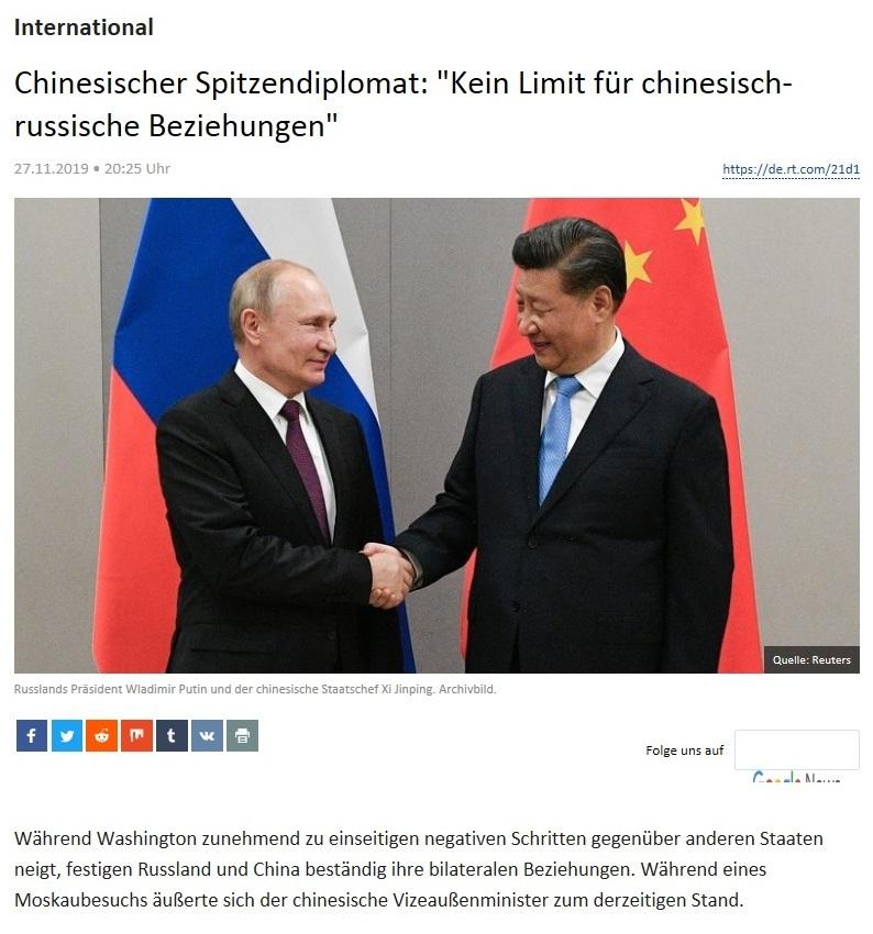 International - Chinesischer Spitzendiplomat: 'Kein Limit für chinesisch-russische Beziehungen'