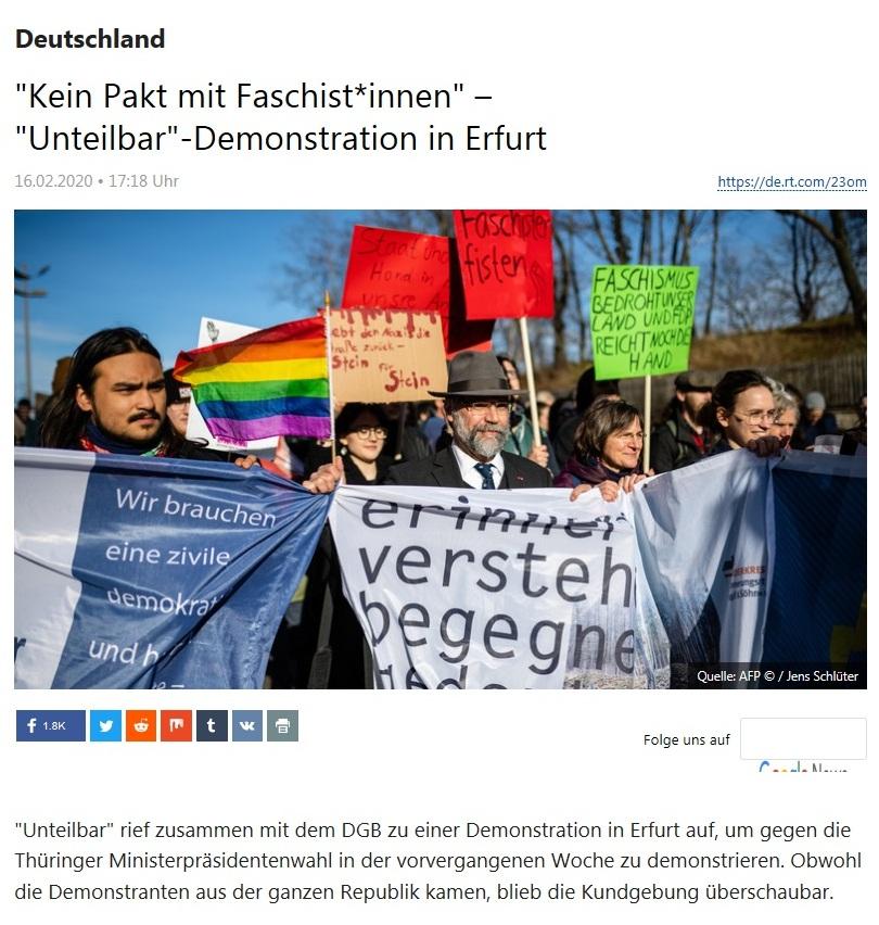 Deutschland - 'Kein Pakt mit Faschist*innen' – 'Unteilbar'-Demonstration in Erfurt