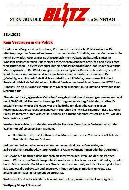 Kein Vertrauen in die Politik - von Wolfgang Mengel, Stralsund - Leserbrief vom 18.04.2021 von Wolfgang Mengel an den Stralsunder Blitz am Sonntag - Aus dem Posteingang von Siegfried Dienel vom 19.04.2021 - Abschnitt 1