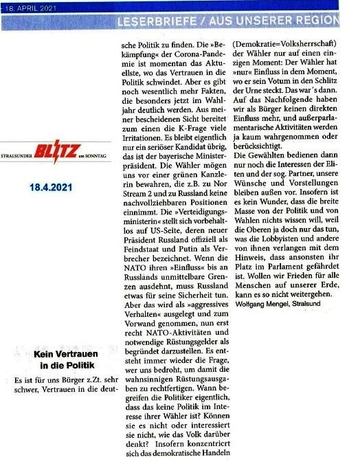 Kein Vertrauen in die Politik - von Wolfgang Mengel, Stralsund - Leserbrief vom 18.04.2021 von Wolfgang Mengel an den Stralsunder Blitz am Sonntag - Aus dem Posteingang von Siegfried Dienel vom 19.04.2021 - Abschnitt 2