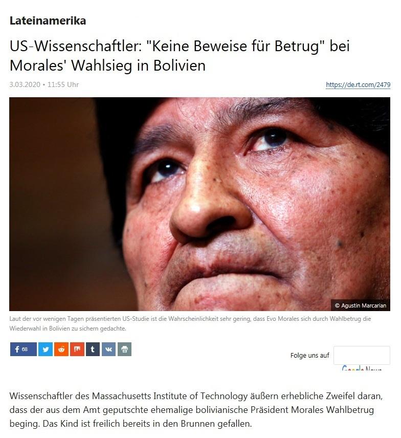Lateinamerika - US-Wissenschaftler: 'Keine Beweise für Betrug' bei Morales' Wahlsieg in Bolivien