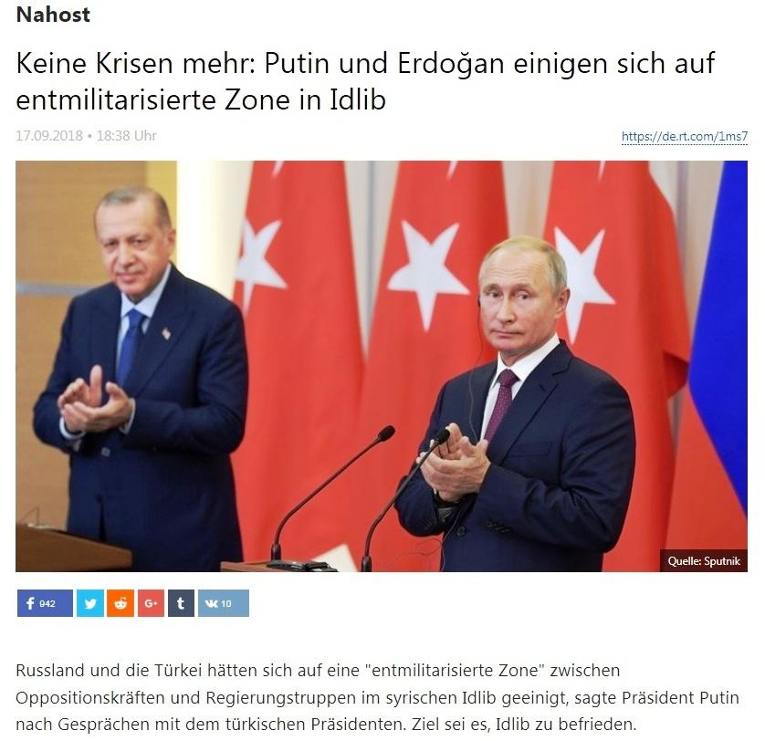 Nahost - Keine Krisen mehr: Putin und Erdoğan einigen sich auf entmilitarisierte Zone in Idlib