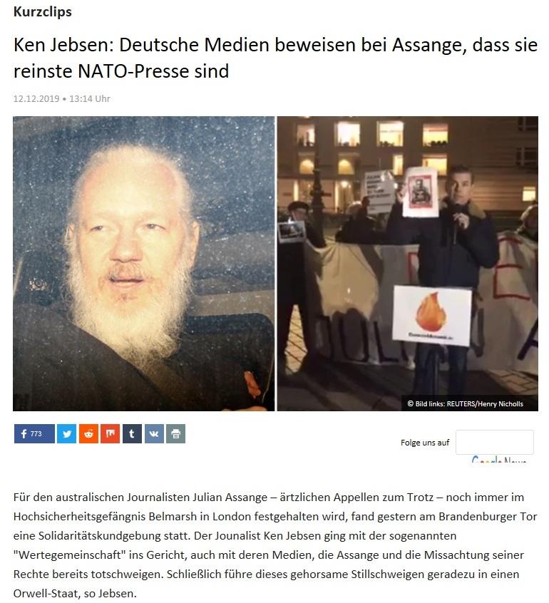 Kurzclips -  Ken Jebsen: Deutsche Medien beweisen bei Assange, dass sie reinste NATO-Presse sind