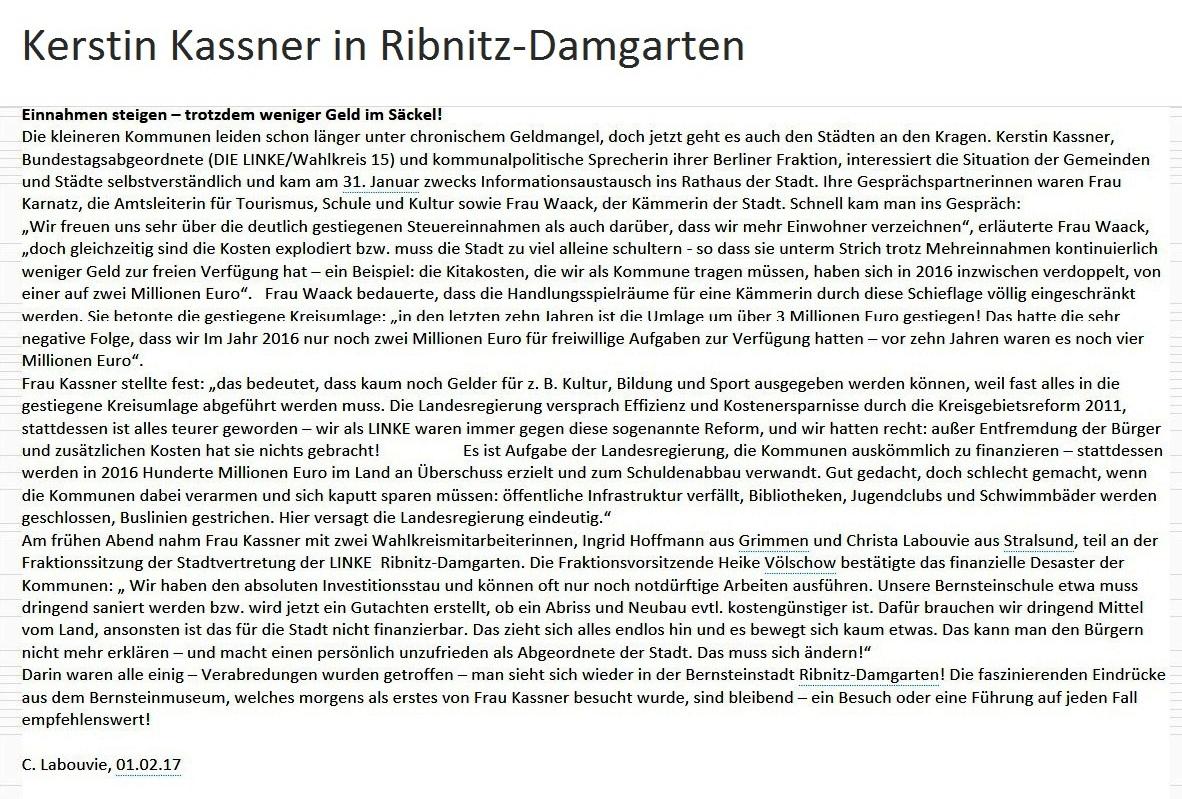 Bundestagsabgeordnete Kerstin Kassner in Ribnitz-Damgarten