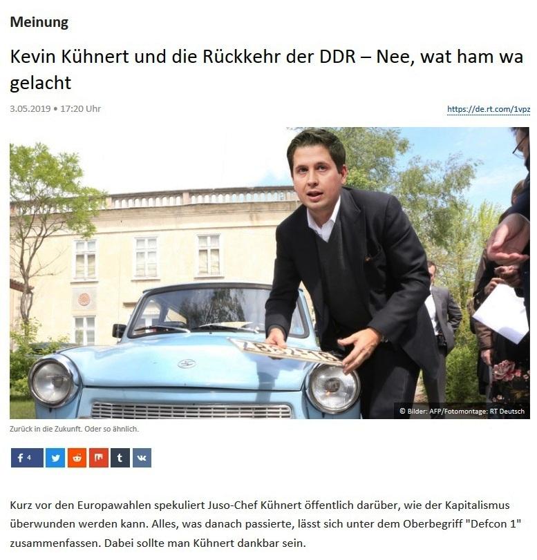 Meinung - Kevin Kühnert und die Rückkehr der DDR – Nee, wat ham wa gelacht