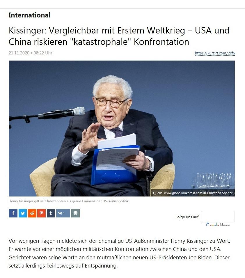 International - Kissinger: Vergleichbar mit Erstem Weltkrieg – USA und China riskieren 'katastrophale' Konfrontation   - RT Deutsch - 20.11.2020