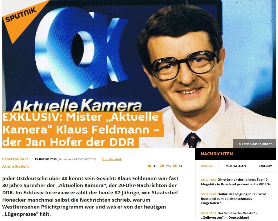 SPUTNIK News - EXKLUSIV: Mister 'Aktuelle Kamera' Klaus Feldmann – der Jan Hofer der DDR