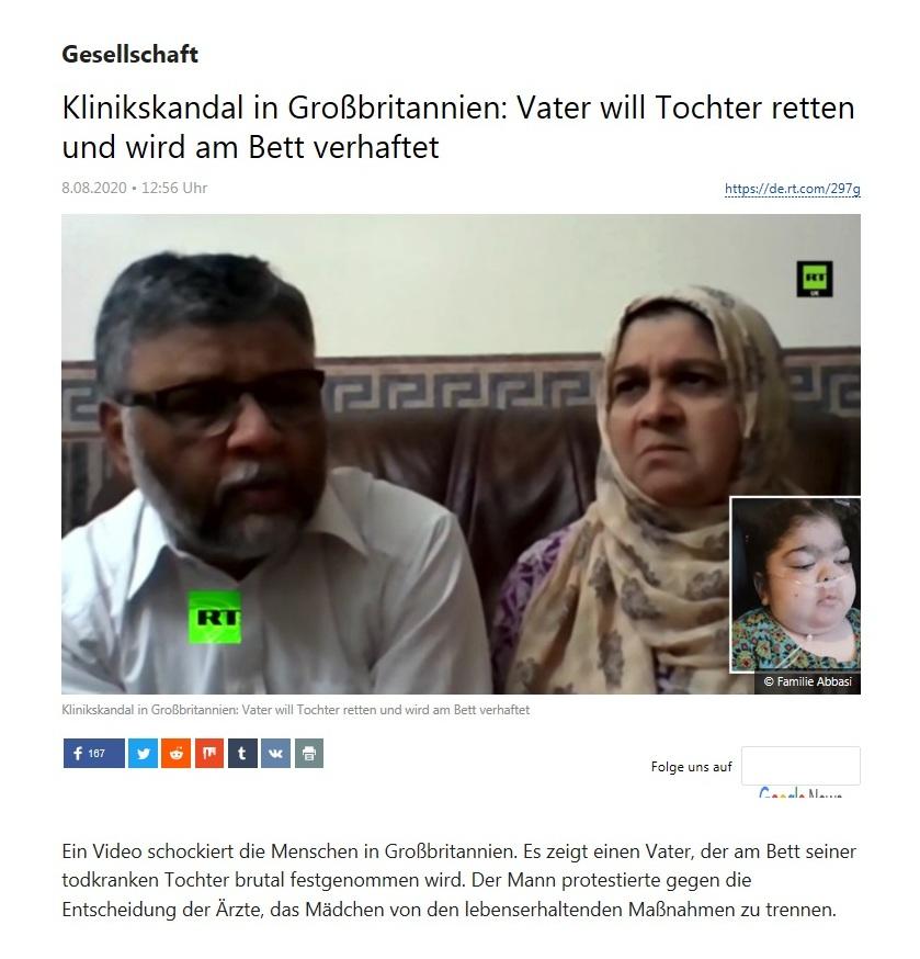 Gesellschaft - Klinikskandal in Großbritannien: Vater will Tochter retten und wird am Bett verhaftet - RT Deutsch - 08.08.2020