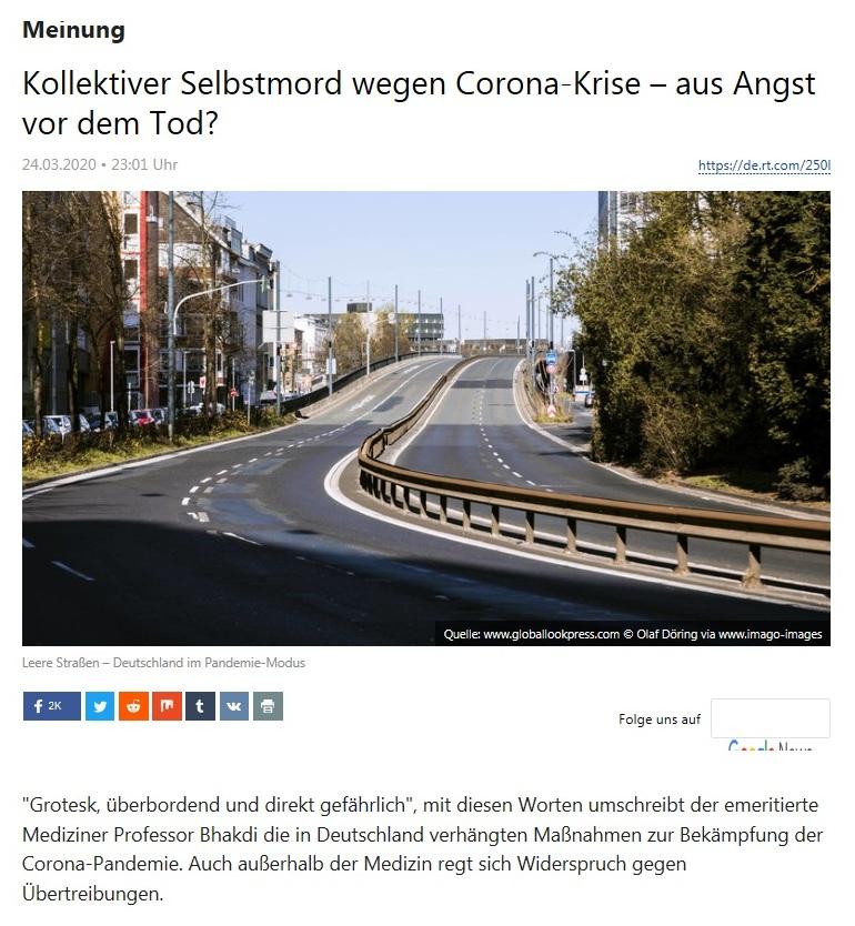 Meinung - Kollektiver Selbstmord wegen Corona-Krise – aus Angst vor dem Tod?  - RT DEUTSCH - 24.03.2020