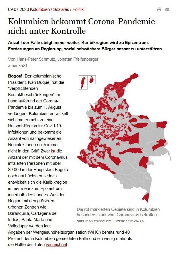Kolumbien bekommt Corona-Pandemie nicht unter Kontrolle - amerika21 - Nachrichten und Analysen aus Lateinamerika - 09.07.2020