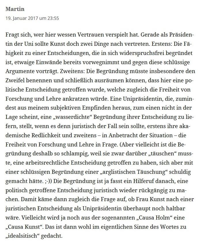 Einige der Kommentare zum Rücktritt von Dr. Andrej Holm als Staatssekretär Wohnen in der Berliner Senatsverwaltung für Stadtentwicklung