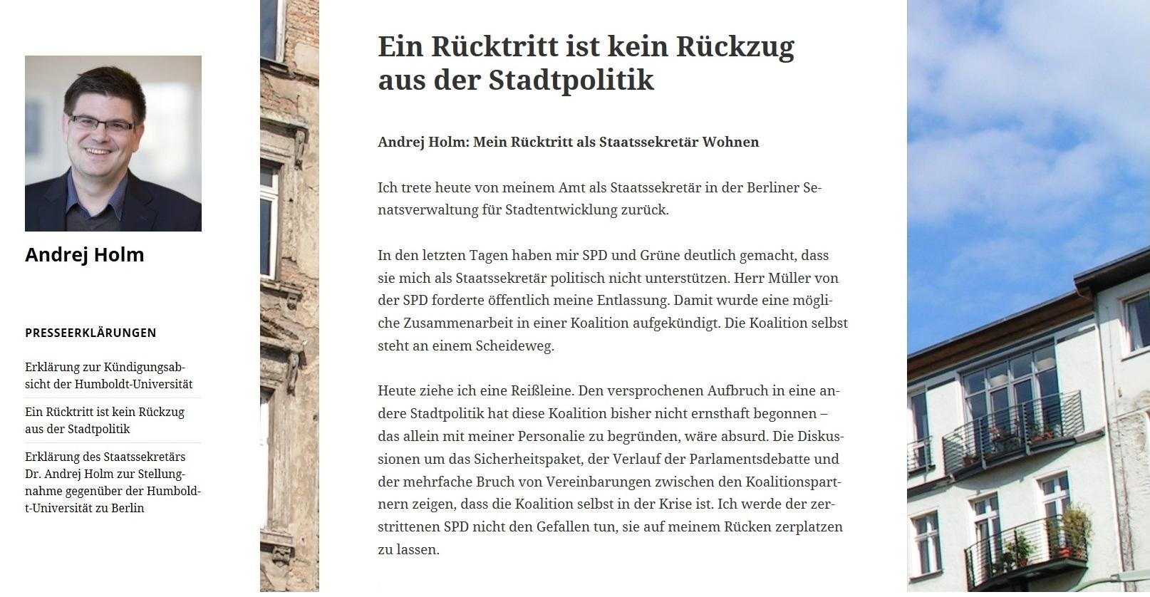 Kommentare Entlassungsskandal - Rot-Rot-Grün in Berlin: Staatssekretär Andrej Holm ergreift die Massen