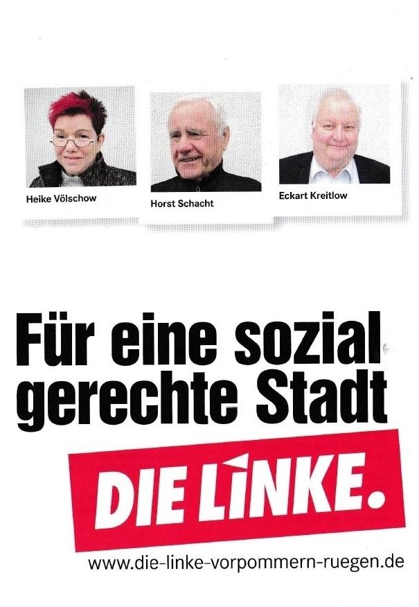 Für eine sozial gerechte Stadt - DIE LINKE - Unsere Kandidaten für die Kommunalwahl am 26. Mai 2019 für die Stadtvertretung der Bernsteinstadt Ribnitz-Damgarten - 1