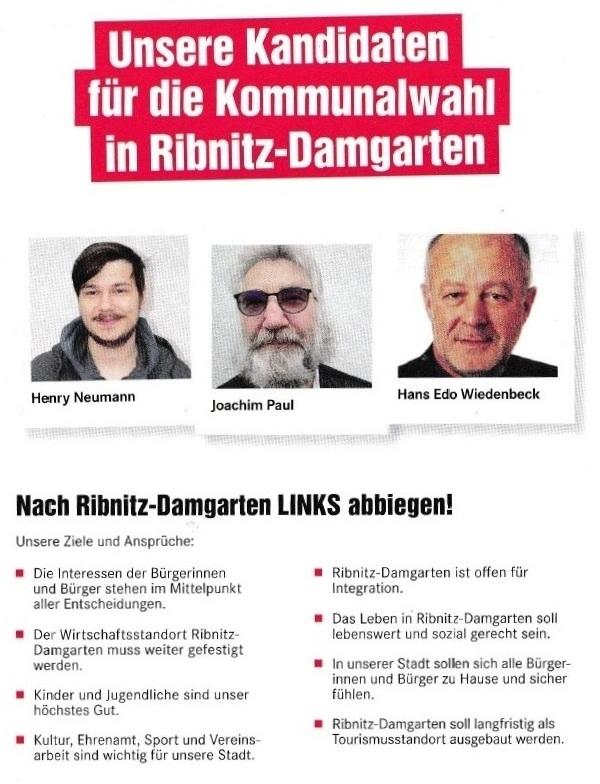 Für eine sozial gerechte Stadt - DIE LINKE - Unsere Kandidaten für die Kommunalwahl am 26. Mai 2019 für die Stadtvertretung der Bernsteinstadt Ribnitz-Damgarten - 2
