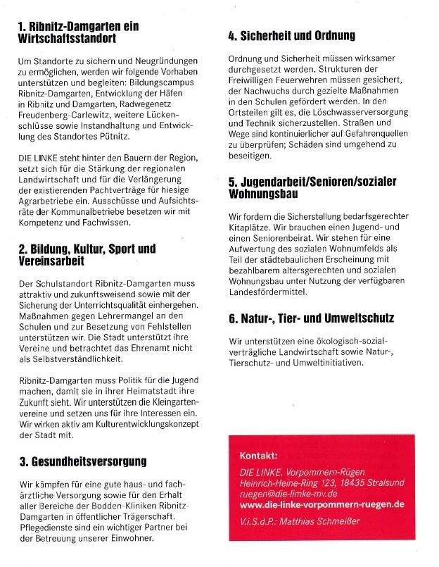 Für eine sozial gerechte Stadt - DIE LINKE - Unsere Kandidaten für die Kommunalwahl am 26. Mai 2019 für die Stadtvertretung der Bernsteinstadt Ribnitz-Damgarten - 4
