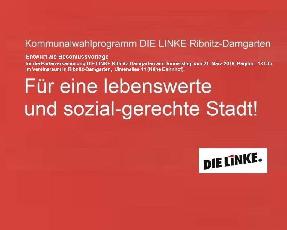 Kommunalwahlprogramm der Partei DIE LINKE zu den Wahlen der Stadtvertretung Ribnitz-Damgarten 2019