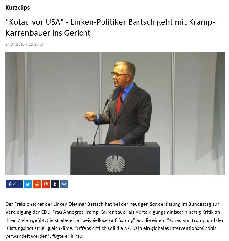 Kurzclips - 'Kotau vor USA' - Linken-Politiker Bartsch geht mit Kramp-Karrenbauer ins Gericht