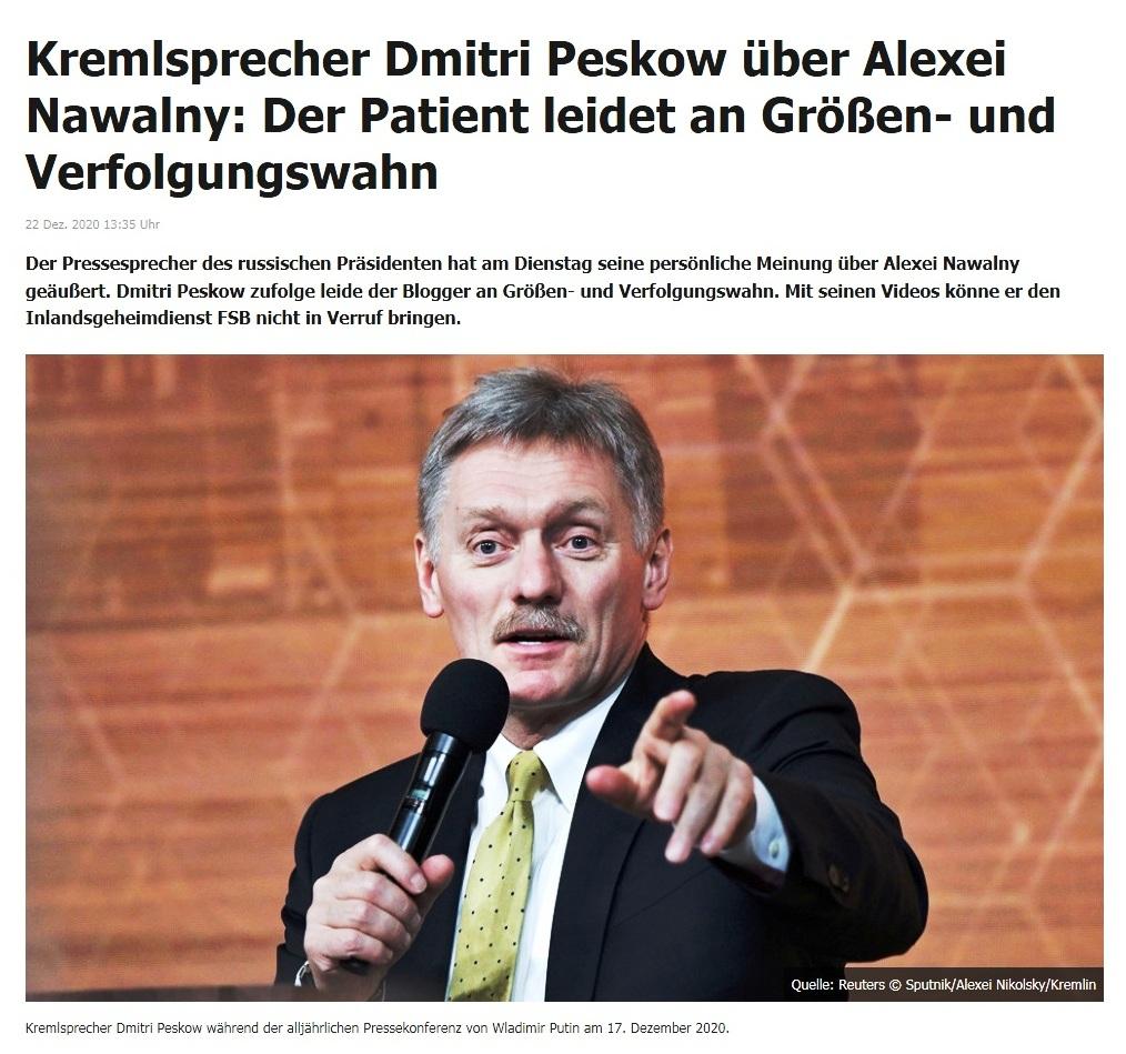 Kremlsprecher Dmitri Peskow über Alexei Nawalny: Der Patient leidet an Größen- und Verfolgungswahn - RT DE - 22 Dez. 2020 13:35 Uhr