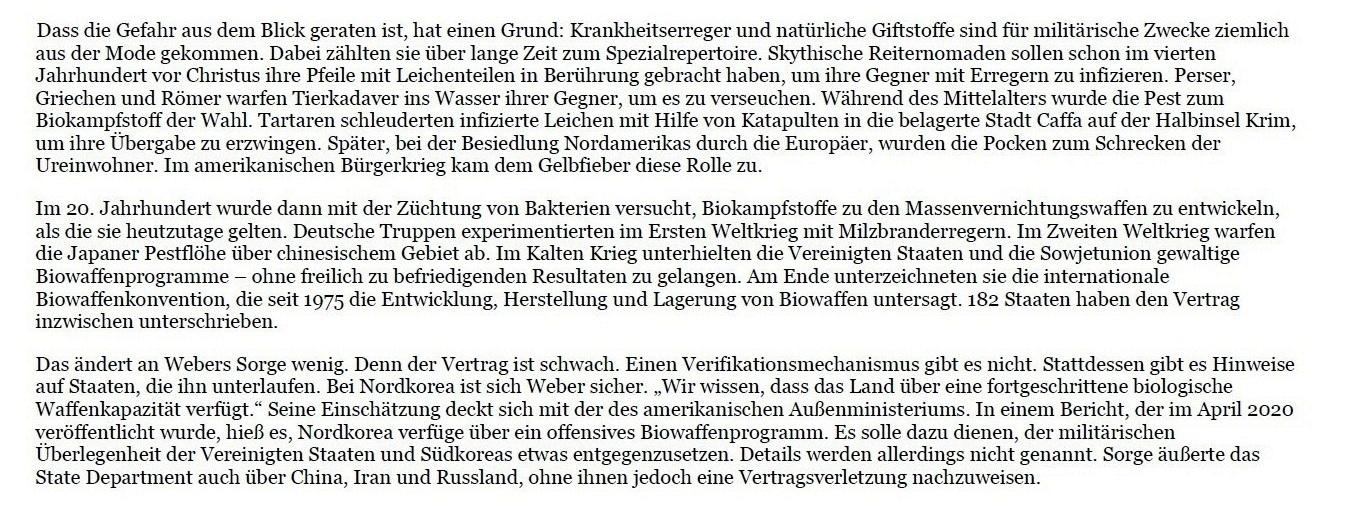 Aus dem Posteingang von Dr. Marianne Linke - Anlage aus der FAS vom 15.11.2020 'Krieg mit Pocken'