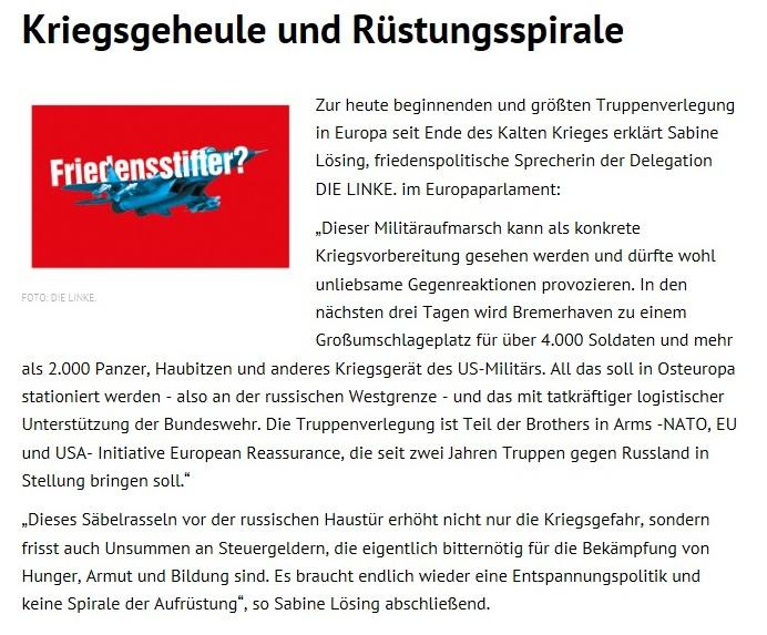 Kriegsgeheule und Rüstungsspirale - 06.01.2017 / Sabine Lösing (MdEP), DIE LINKE im  Europaparlament - Presseerklärung
