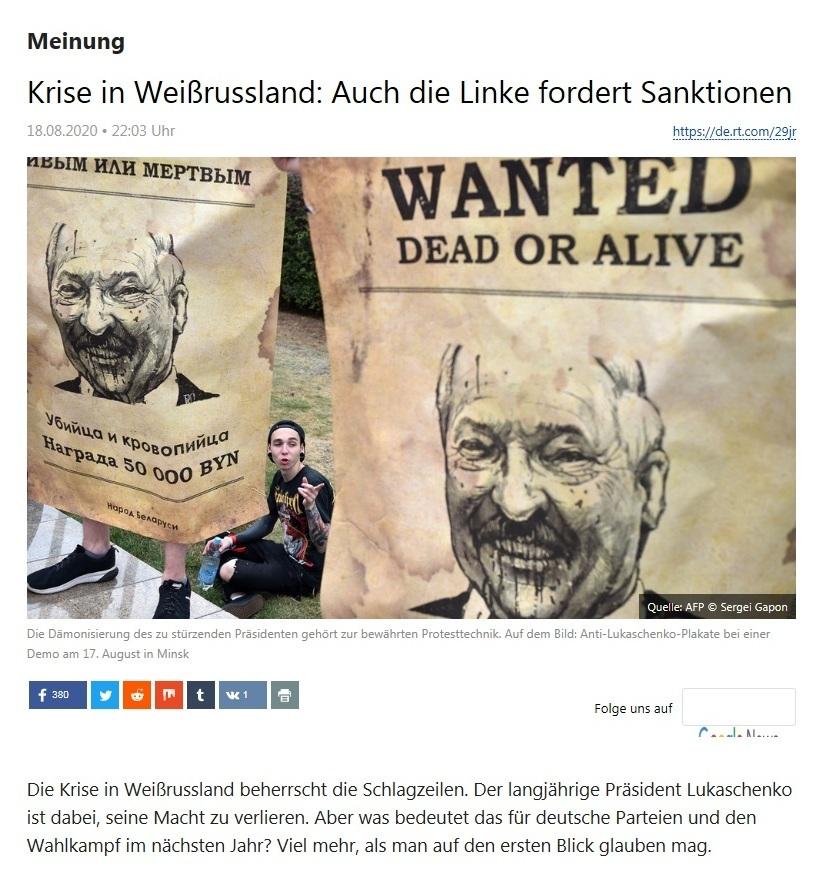 Meinung - Krise in Weißrussland: Auch die Linke fordert Sanktionen - RT Deutsch - 18.08.2020