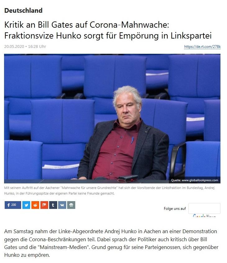 Deutschland - Kritik an Bill Gates auf Corona-Mahnwache: Fraktionsvize Hunko sorgt für Empörung in Linkspartei - RT Deutsch - 20.05.2020