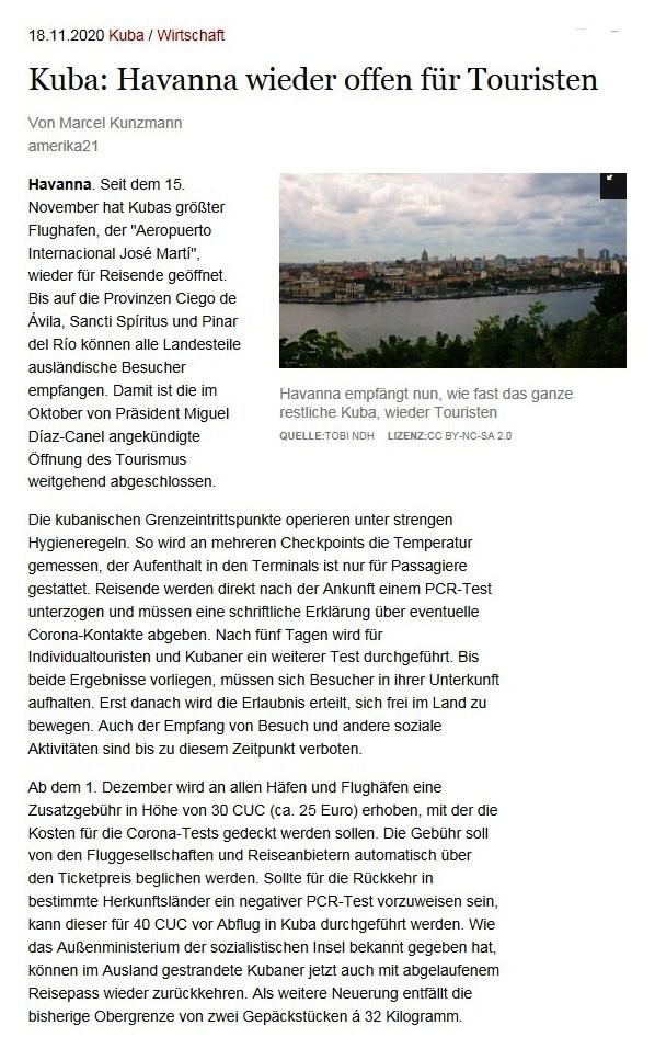 Kuba: Havanna wieder offen für Touristen - Von Marcel Kunzmann - amerika21 - Nachrichten und Analysen aus Lateinamerika - 18.11.2020