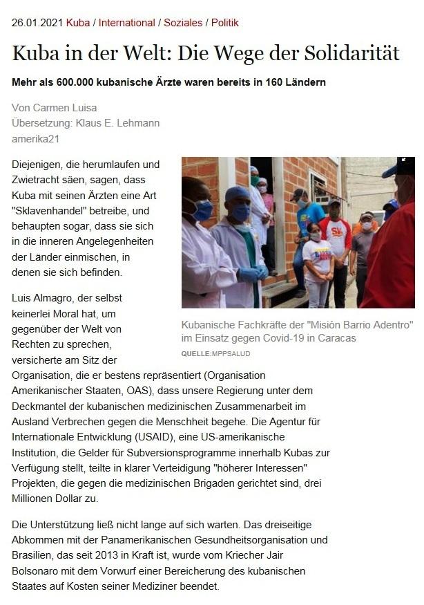 Kuba in der Welt: Die Wege der Solidarität - Mehr als 600.000 kubanische Ärzte waren bereits in 160 Ländern - Von Carmen Luisa - Übersetzung: Klaus E. Lehmann - amerika21 - Nachrichten und Analysen aus Lateinamerika - 26.01.2021
