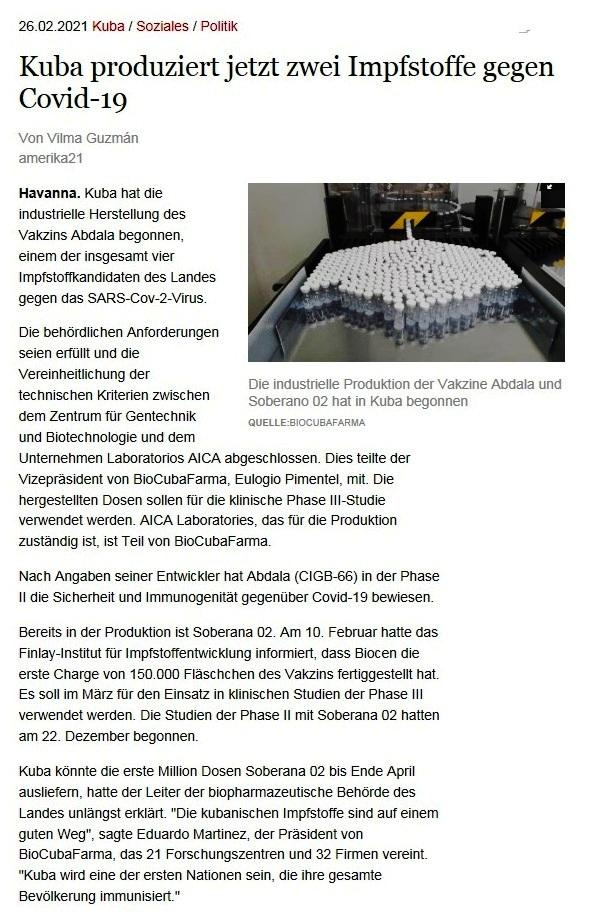 Kuba produziert jetzt zwei Impfstoffe gegen Covid-19 - Von Vilma Guzmán - amerika21 - Nachrichten und Analysen aus Lateinamerika - 26.02.2021