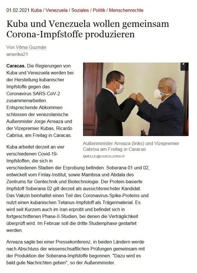 Kuba und Venezuela wollen gemeinsam Corona-Impfstoffe produzieren - Von Vilma Guzmán - amerika21 - Nachrichten und Analysen aus Lateinamerika - 01.02.2021