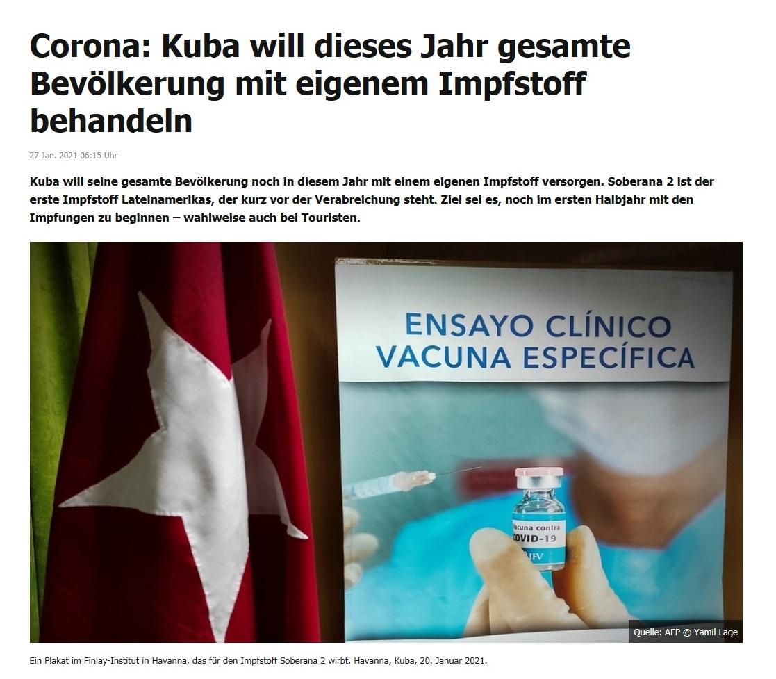 Corona: Kuba will dieses Jahr gesamte Bevölkerung mit eigenem Impfstoff behandeln - RT DE - 27 Jan. 2021 06:15 Uhr