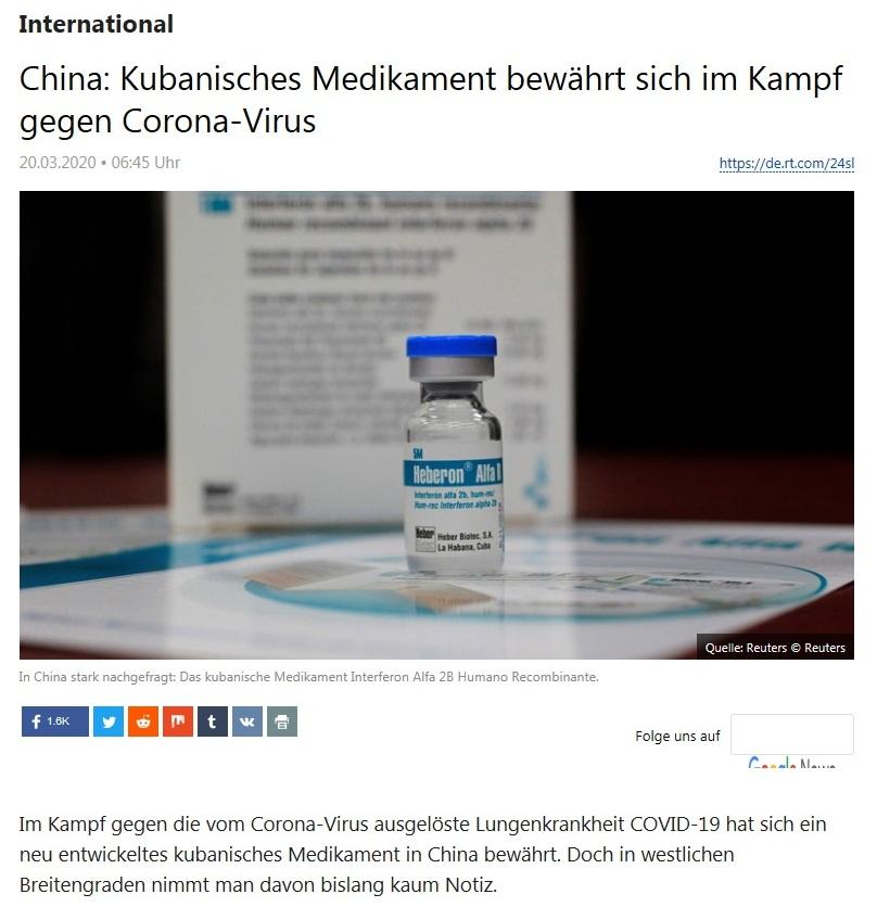 International - China: Kubanisches Medikament bewährt sich im Kampf gegen Corona-Virus - RT Deutsch - 20.03.2020