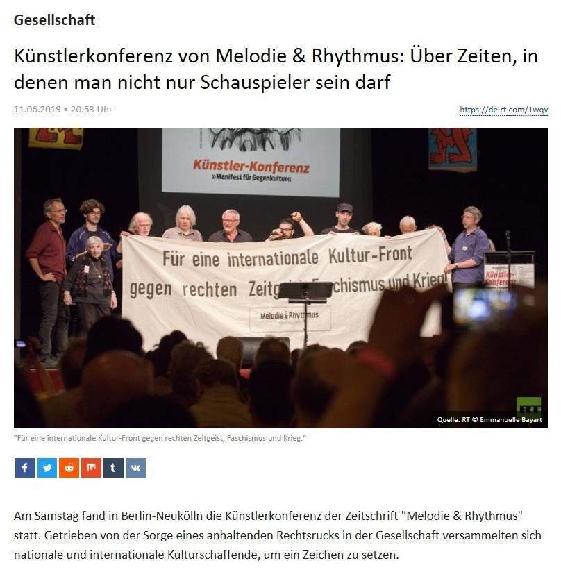 Gesellschaft - Künstlerkonferenz von Melodie & Rhythmus: Über Zeiten, in denen man nicht nur Schauspieler sein darf