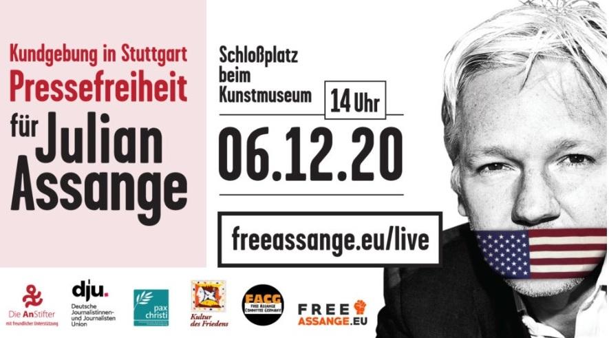 Free Julian Assange! Kundgebung zur Verleihung des Stuttgarter Friedenspreises in Stuttgart am 06.12.2010 14 Uhr Schlossmuseum
