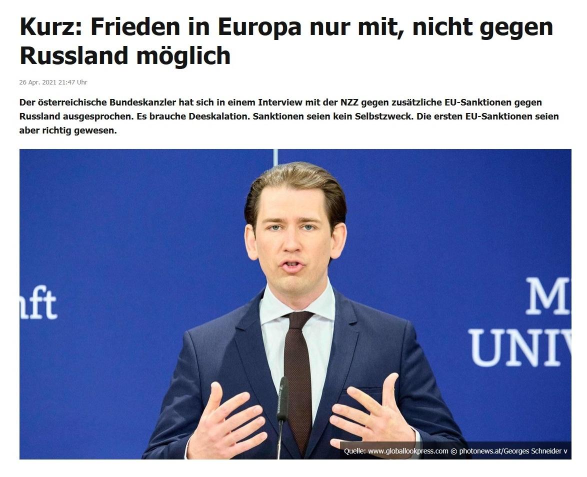 Kurz: Frieden in Europa nur mit, nicht gegen Russland möglich -  RT DE - 26 Apr. 2021 21:47 Uhr