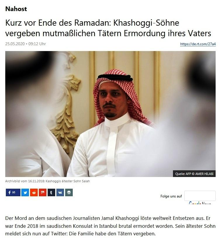 Nahost - Kurz vor Ende des Ramadan: Khashoggi-Söhne vergeben mutmaßlichen Tätern Ermordung ihres Vaters - RT Deutsch - 25.05.2020