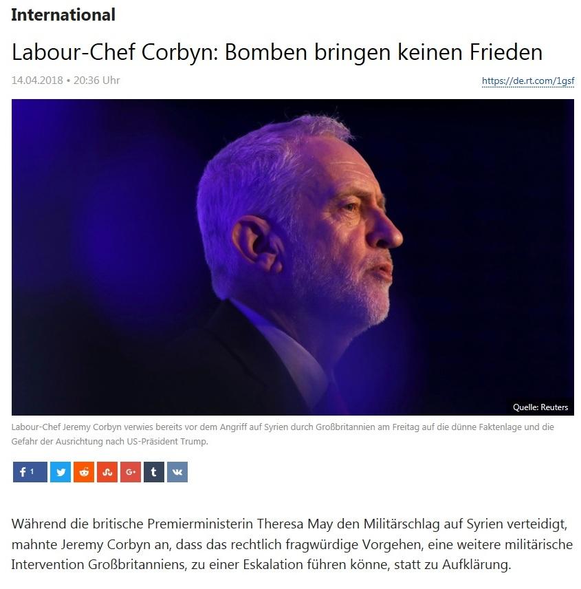 International - Labour-Chef Corbyn: Bomben bringen keinen Frieden