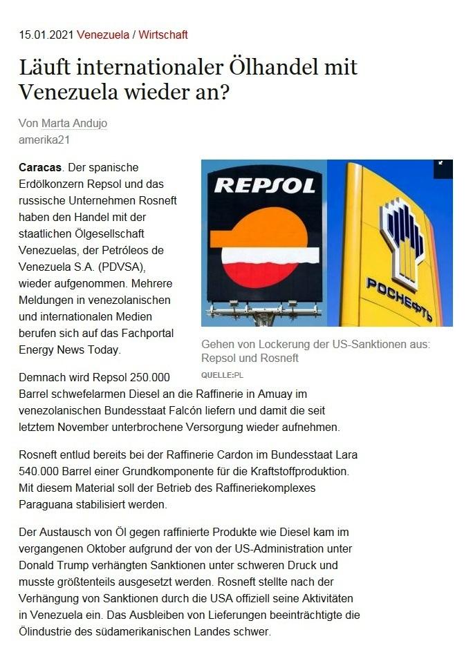 Läuft internationaler Ölhandel mit Venezuela wieder an? - Von Marta Andujo - amerika21 - Nachrichten und Analysen aus Lateinamerika - 15.01.2021