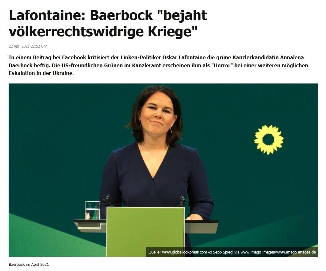 Lafontaine: Baerbock 'bejaht völkerrechtswidrige Kriege' -  RT DE - 22 Apr. 2021 22:52 Uhr