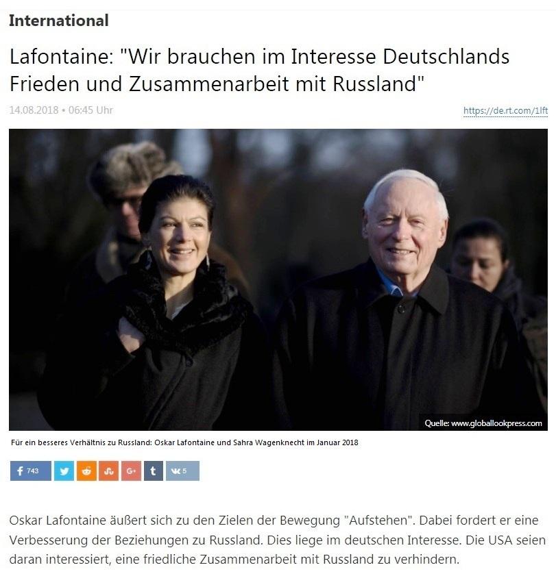 International - Lafontaine: 'Wir brauchen im Interesse Deutschlands Frieden und Zusammenarbeit mit Russland'