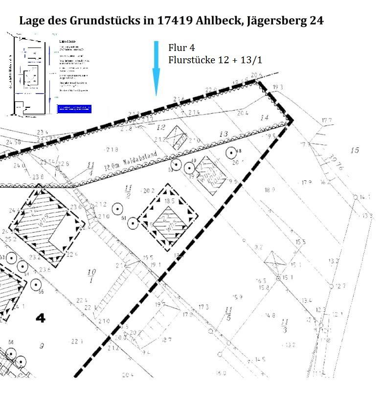 Lage des Grundstücks in  17419 Ostseeheilbad Ahlbeck, Jägersberg 24, Grundstücksgröße: etwa 780 m² Eigentumsland, Wohn- und Nutzfläche Wochenenhaus: etwa 44 m², Wohnzimmer, Schlafzimmer, Bad/WC, Küche, Veranda, Nutzfläche der Nebengebäude und Garage: ca 50 m², Lageskizze ist nicht maßstabgerecht, Maßangaben in der Skizze nur ungefähre Angaben.