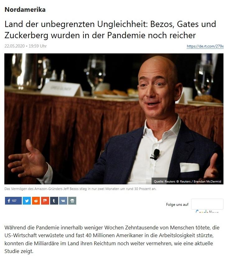 Nordamerika - Land der unbegrenzten Ungleichheit: Bezos, Gates und Zuckerberg wurden in der Pandemie noch reicher  - RT Deutsch - 22.05.2020